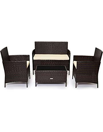 Evre Home & - Conjunto de muebles de jardín de ratán para interiores y exteriores