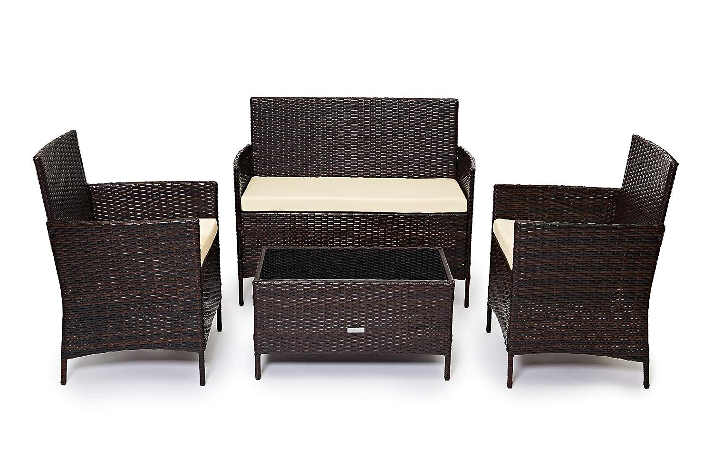 Evre Home & - Conjunto de muebles de jardín de ratán para interiores y exteriores, 4 piezas, sofá, mesa, marrón