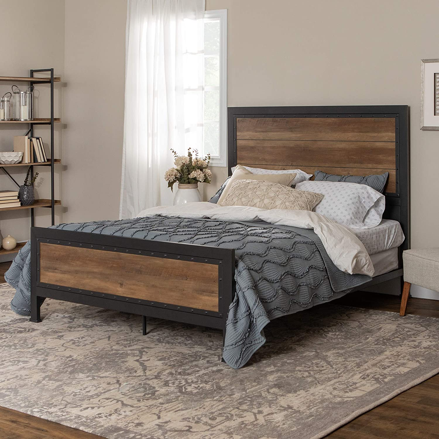 Home Accent Furnishings New Rustic Queen Industrial Wood and Metal Bed – Includes Head and Footboard