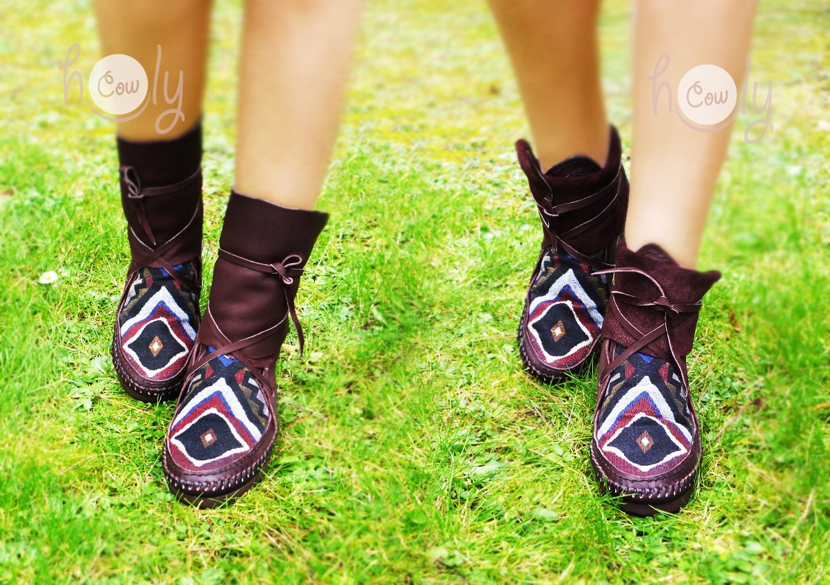 Hand Stitched Brown Leather Moccasins With Native American Tribal Fabric