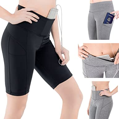 89ac49ddd06087 Sparkle Shorts with 3 Pockets for Women 9-inch Yoga Leggings Workout ...
