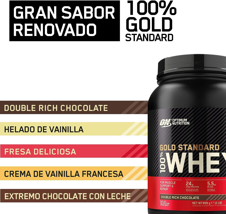 Optimum Nutrition Gold Standard 100% Whey Proteína en Polvo, Glutamina y Aminoácidos Naturales, BCAA, Double Rich Chocolate, 146 Porciones, 4,53kg, ...