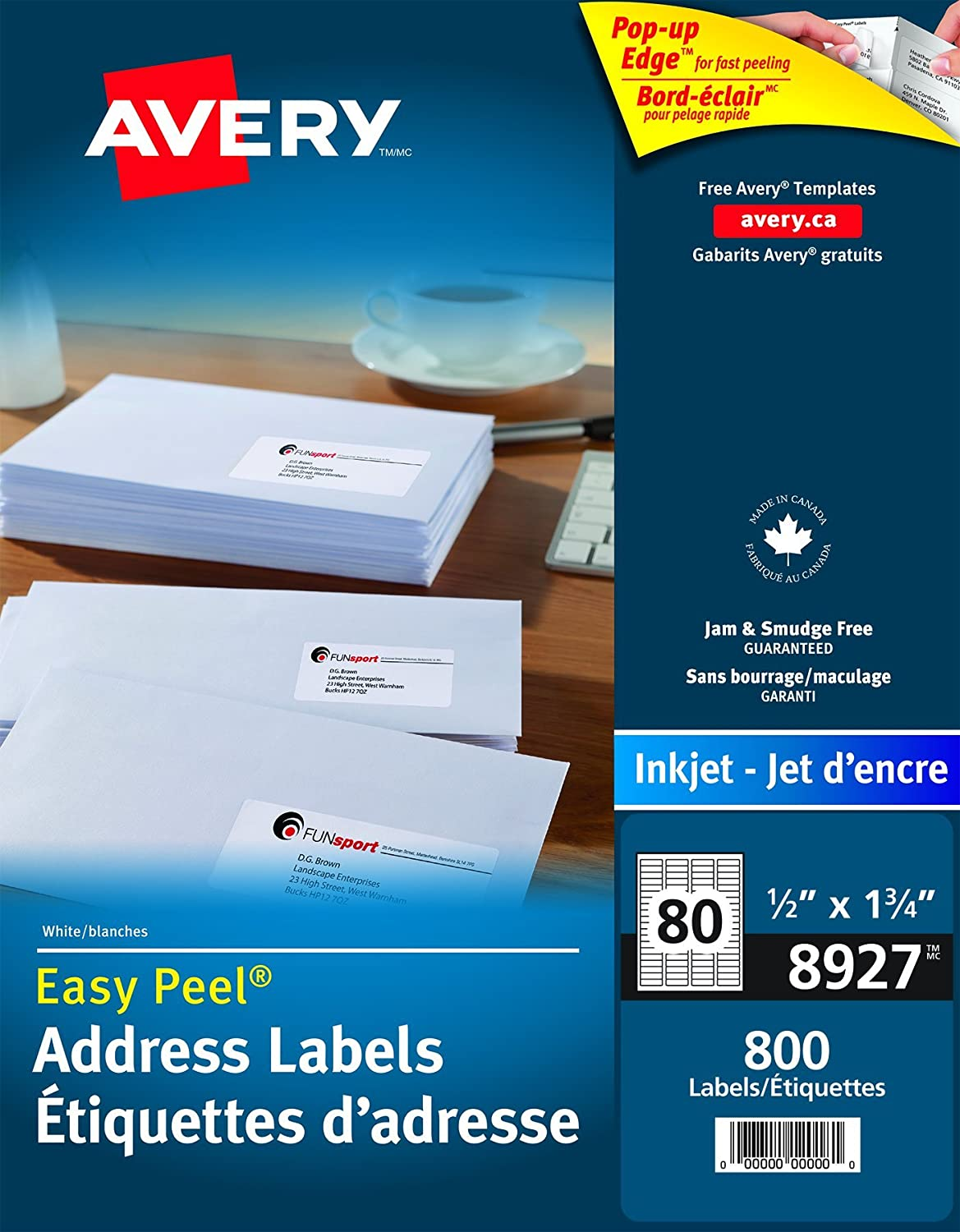 Avery Address Labels With Easy Peel For Inkjet Printers 1 2 X 3 4 White Rectangle 800 Permanent 8927 Made In Canada The Canadian