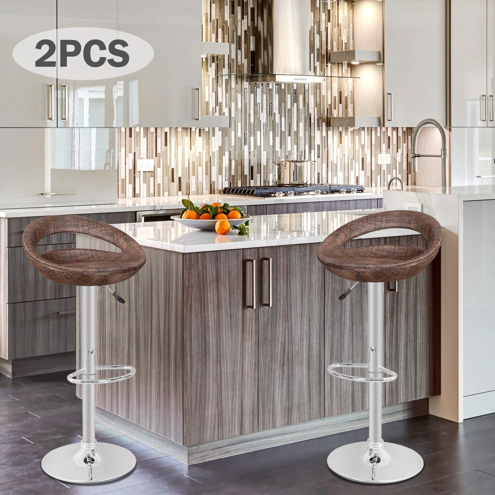 Nova Microdermabrasion Adjustable Pub Swivel Barstool All Weather Hydraulic Patio Barstool Indoor/Outdoor W/Open Back and Chrome Footrest, 2pcs by Nova Microdermabrasion
