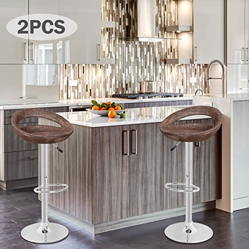 Dkeli Counter Height Bar Stools Set of 2 Leather Adjustable Bar Chairs for Kitchen Living Room Pub Swivel Bar Stool Armrest White