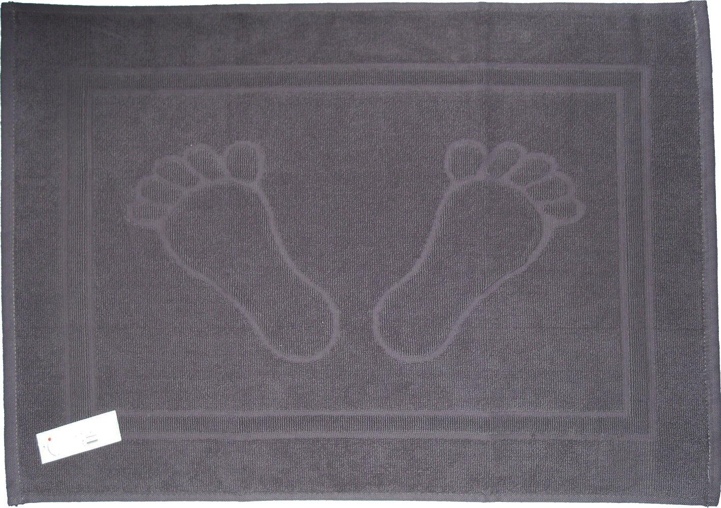 Alfombrilla de ducha, alfombra de baño, de tejido de rizo, toallas de baño, 50 x 70 cm, diseño de pies, colour sólido, de baño, 100% de algodón, 100% algodón, blanco, 50 cm x 70 cm