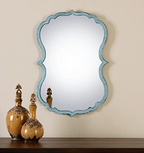 Unusual Curved Shaped Light Blue Wall Mirror Bathroom Vanity Amazon Co Uk Kitchen Home