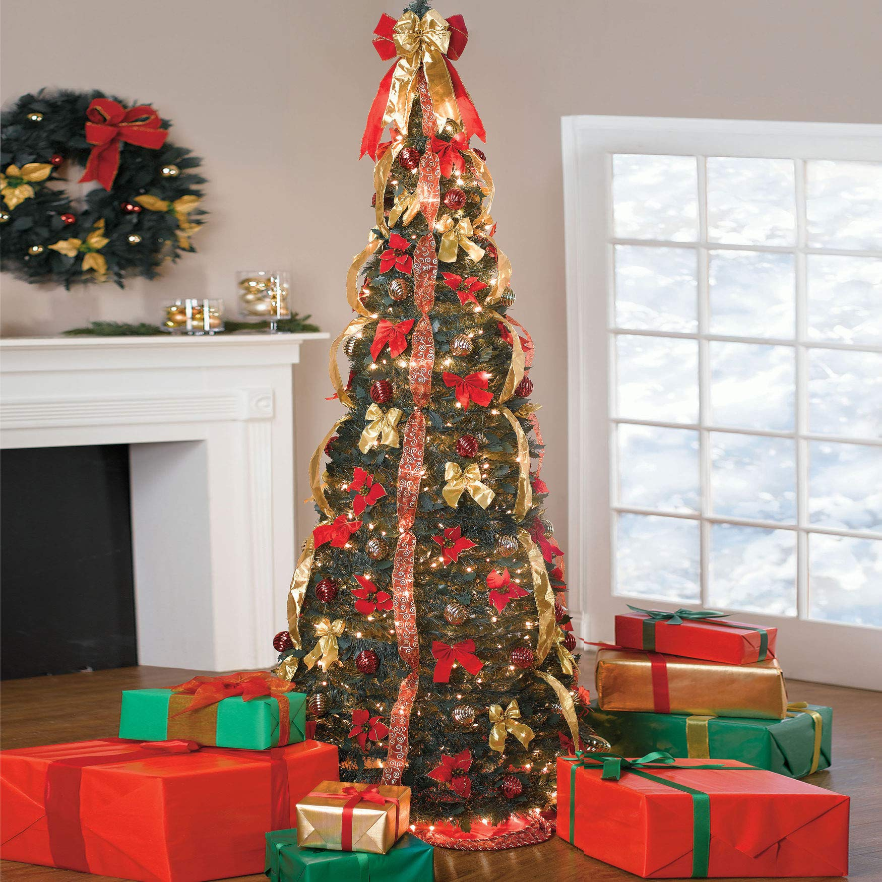 BrylaneHome Christmas Fully Decorated Pre Lit 7 1 2 Pop Up Christmas Tree Red Gold