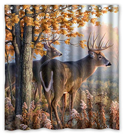 Image Unavailable Not Available For Color KXMDXA Creative Whitetail Deer Paintings Shower Retro Curtain