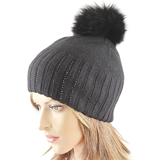 83fd81a01e0 Black Wool Hat with Removable Fur Pom and Shiny Decoration at Amazon Women s  Clothing store