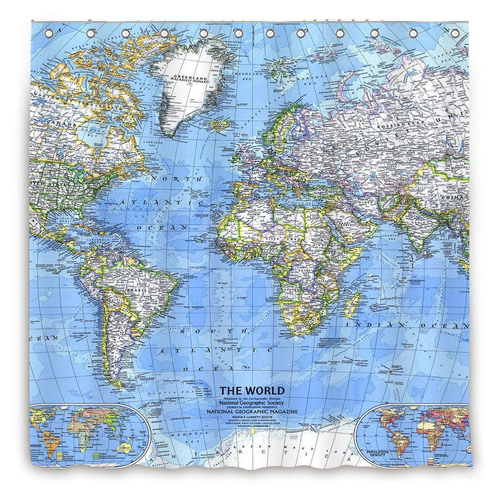 Amazon.com: World Map Shower Curtain Weighted Hem Educational ...