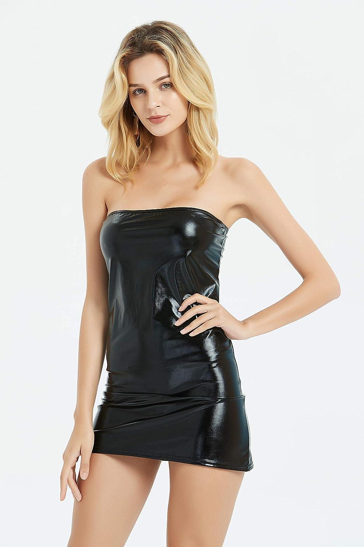 Fineyhope Gothic Hot Sleeveless Dress Metallic Wetlook Clubwear Stripper