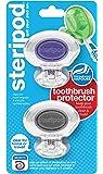 Steripod 卡夹式牙刷保护膜(2 只装透明紫色和透明银色)I 适用于旅行、居家、露营