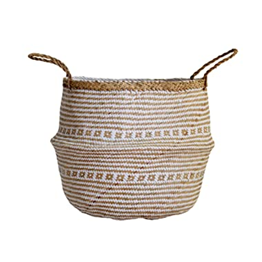 DUFMOD Small Natural and Plush Woven Seagrass Tote Belly Basket for Storage, Laundry, Picnic, Plant Pot Cover, and Beach Bag (Plush Criss-Cross Seagrass White, Small)