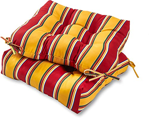 Greendale Home Fashions AZ6800S2-CARNIVAL Fiesta Stripe Outdoor Dining Seat Cushion Set of 2