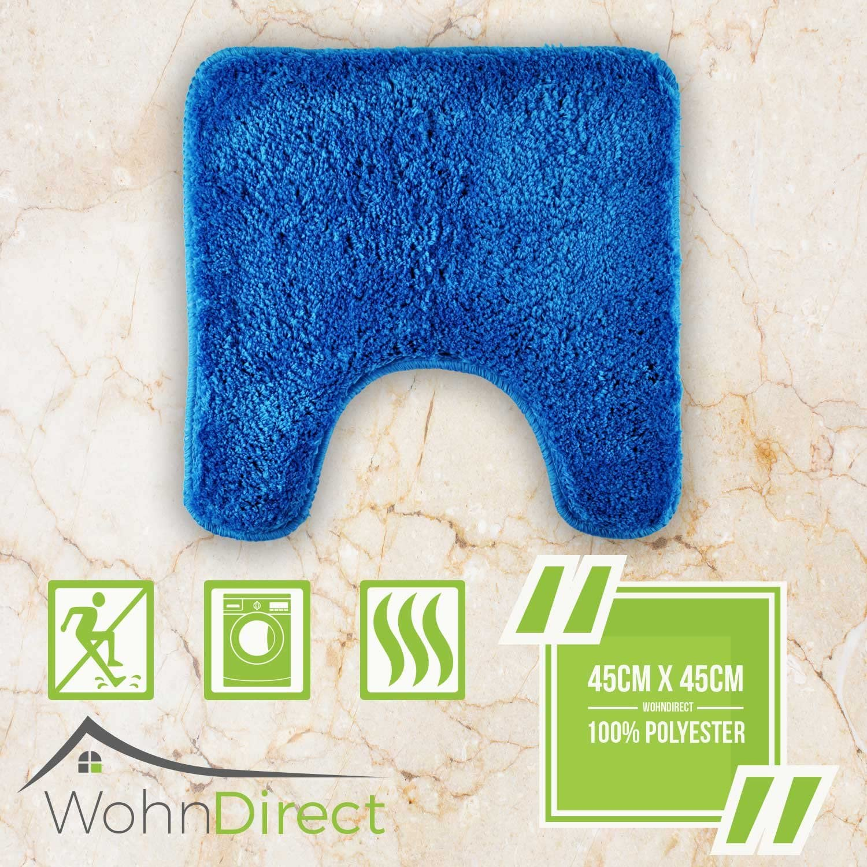 Azul Alfombra ba/ño Juego WohnDirect Alfombrilla de ba/ño Conjunto Antideslizante Alfombra para el Cuarto de ba/ño 50 x 80 cm Lavable 45 x 45 cm con Recorte