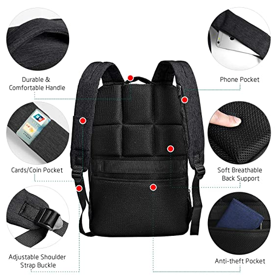 Amazon.com: Cai Slim Waterproof Laptop Backpack Book Bag with Headphone Port and USB Charging Port Computer Backpack, Black, 15 Inch Laptop: Computers & ...
