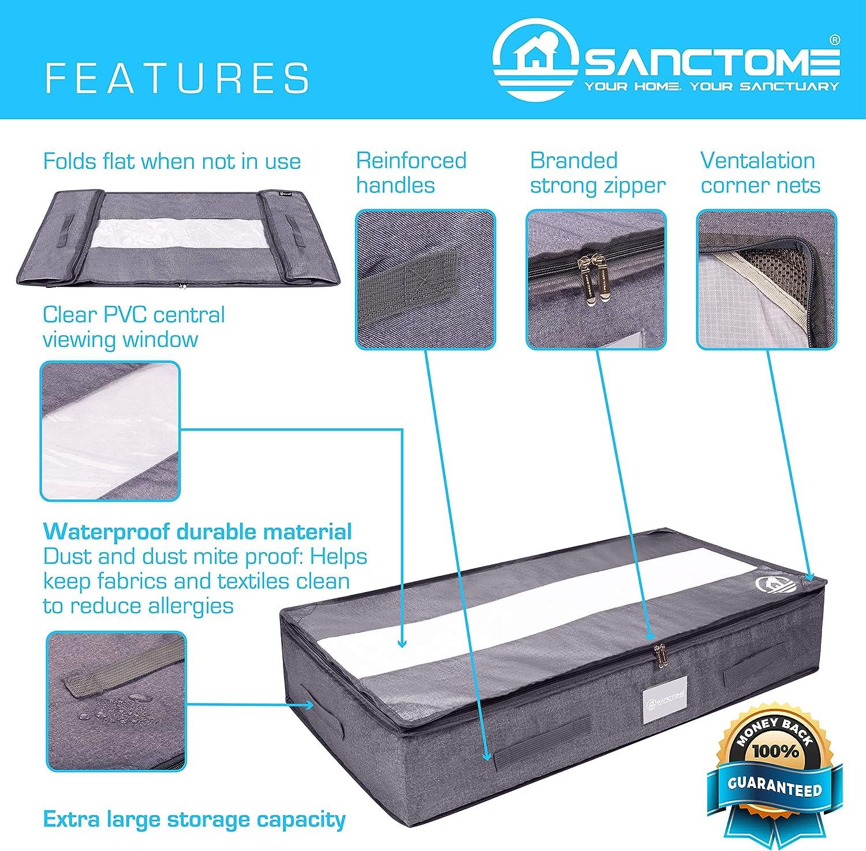 starker Rei/ßverschluss verst/ärkte Griffe SANCTOME Unterbettaufbewahrungsbeutel PVC-Fenster wasserdichtes Material 100 x 50 x 20 cm staubdicht grau 2 St/ück