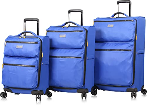 Lucas Designer Luggage Collection – 3 Piece Softside Expandable Ultra Lightweight Spinner Suitcase Set – Travel Set includes 20 Inch Carry On, 24 Inch 28 Inch Checked Suitcases Royal Blue