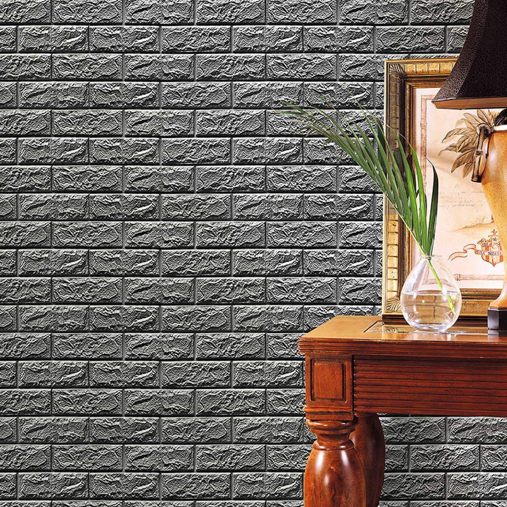 iYBUIA 3D PE Foam Wallpaper DIY Simulation Tile Wall Stickers Wall Decor Embossed Brick Stone Gray