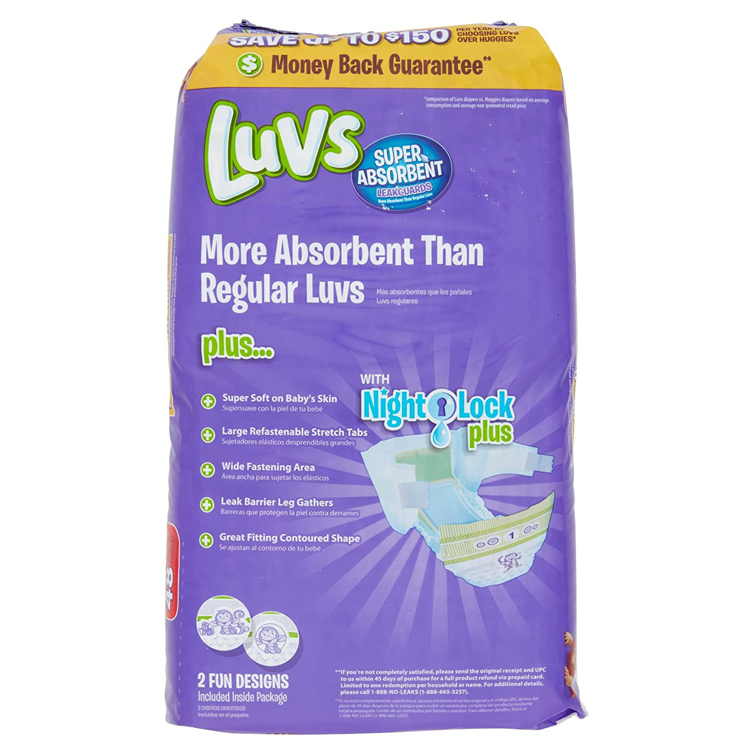 Amazon.com: Branded Luvs Super Absorbent Leakguards Diapers, Size 1, 48 Diapers , Weight 8-14lbs - Branded Diapers with fast delivery (Soft and Comfortable ...