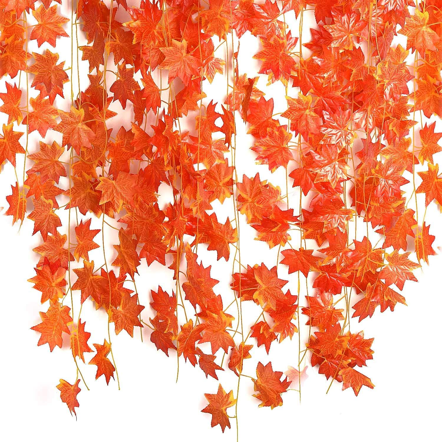 Udefineit 90Ft Fall Artificial Maple Leaves Vines, Flake Hanging Plants Thanksgiving Decorations, 12 Pack Autumn Red Leaf Garland for Indoor Wall Decor Outdoor Garden Wedding Party