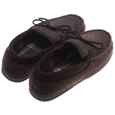 Dearfoams Men's Felted Plaid Lined Moccasin Slippers; Coffee (Large) | Slippers
