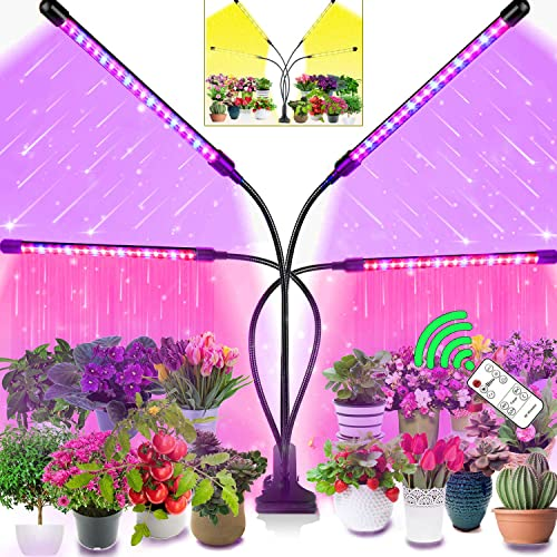 Upgraded Grow Light for Indoor Plants Full Spectrum 80W Plant Light, Remote Controlled Plant Grow Lights, 80 LEDs 10 Dimmable Levels with 4 8 12H Timer and 3 Modes for Seed Starting