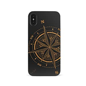 iPhone X/Xs Case, CaseYard Slim-Fit, Hybrid, Lightweight, Fashionable iPhone X/Xs Wood Case, Made in California (iPhone X/Xs) (Black) Compass Rose