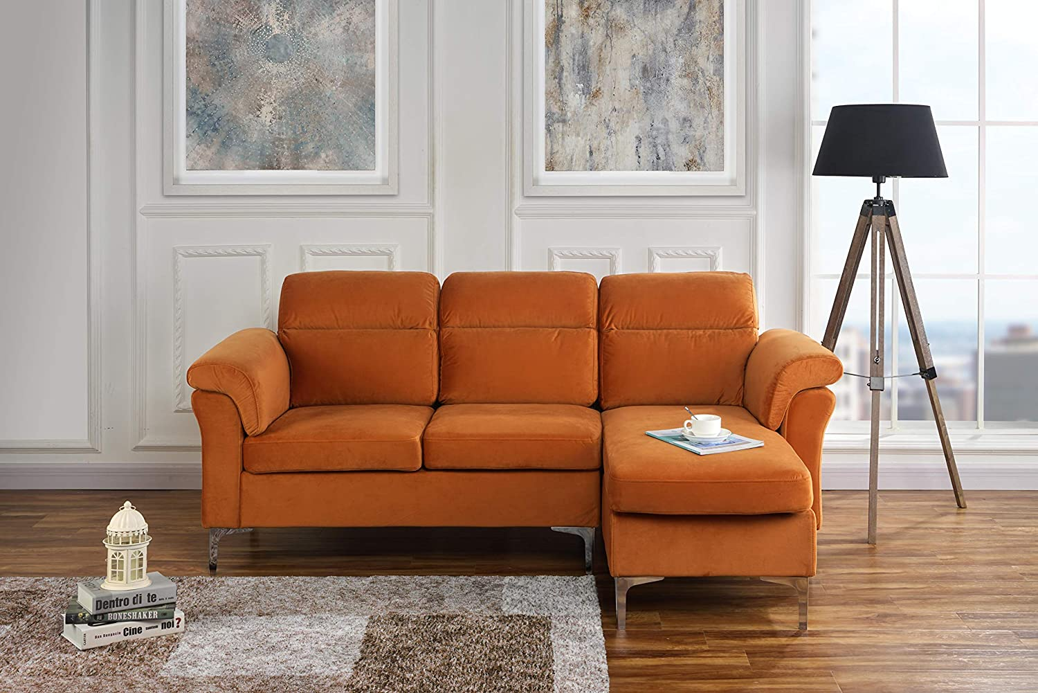 Modern Velvet Fabric Sectional Sofa - Small Space Couch (Rust)