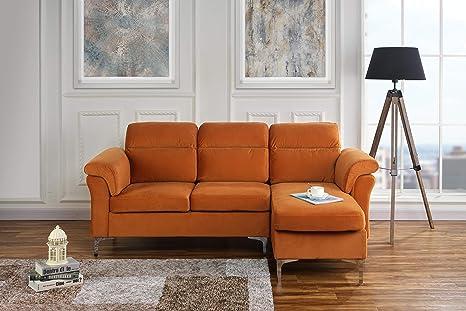 Amazon.com: Casa Andrea Milano Sofá moderno de terciopelo ...