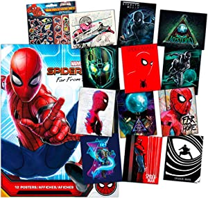 Marvel Spiderman Room Decor Poster Super Set -- 12 Spiderman Far From Home Posters Wall Decor Includes Over 100 Reward Spiderman Stickers (Spiderman Room Decorations for Boys Girls Room)
