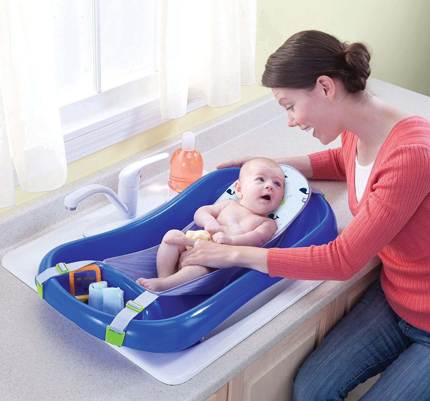 Amazon : The First Years Surefort Deluxe Newborn To Toddler Tub,  Blue : Baby Bathing Seats And Tubs : Baby