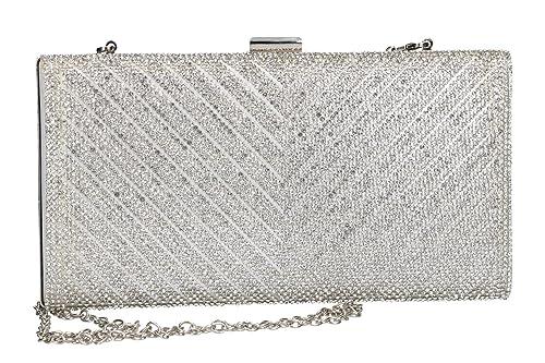 78fa121c9a MICHELLE MOON Borsetta donna pochette argento da cerimonia con strass VN58:  Amazon.it: Scarpe e borse