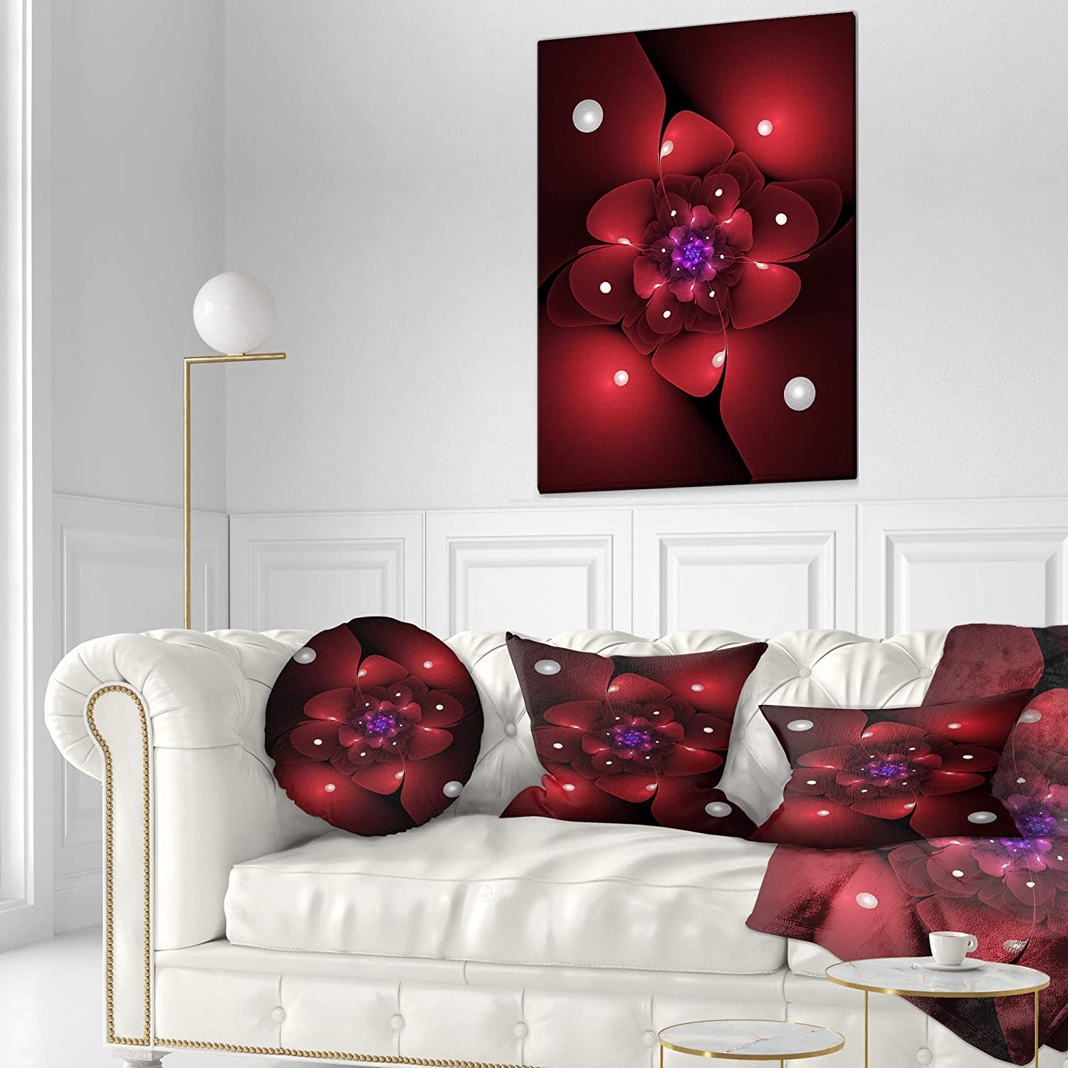 Sofa Throw Pillow 12 in in x 20 in Designart CU11929-12-20 Red Fractal Flower with Illumination Floral Lumbar Cushion Cover for Living Room
