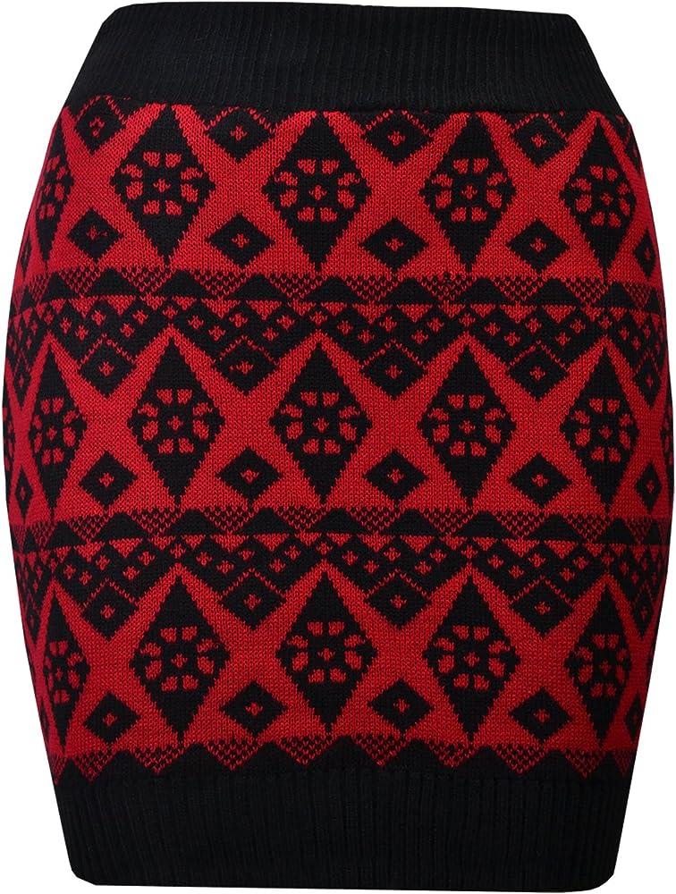 Falda de Tubo de Punto para Mujer, patrón de Diamantes, Color ...