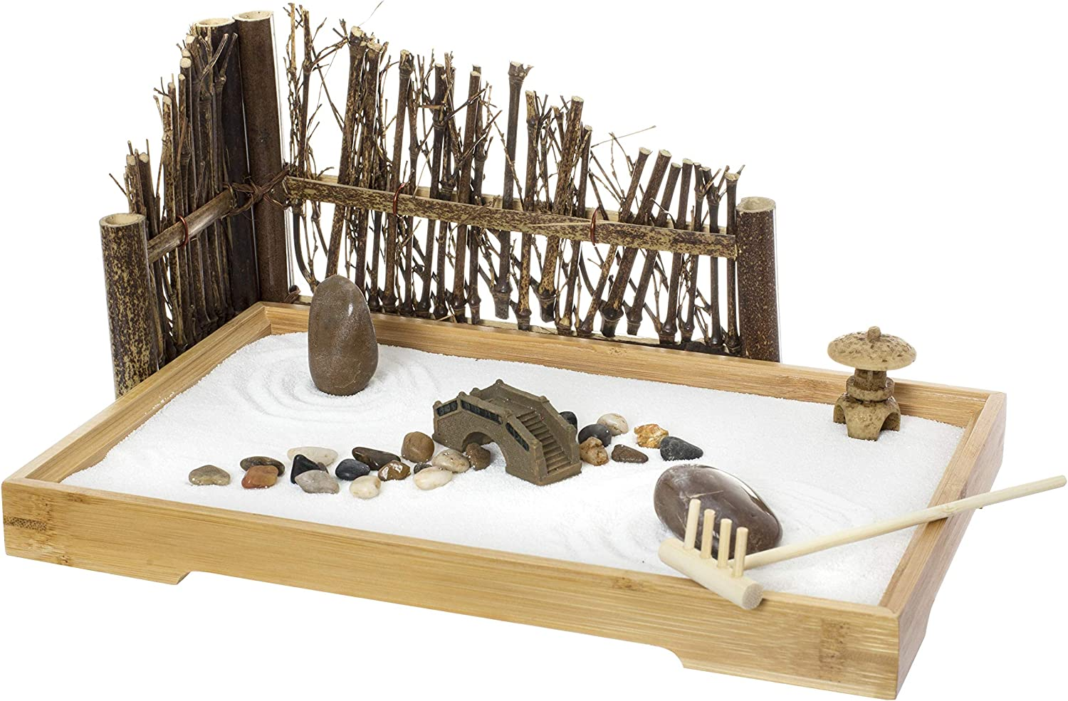 Japanese Zen Garden for Desk - Bamboo Tray, White Sand, River Rocks, Pebbles, Rake Tools Set - Office Table Accessories, Home Decor, Toy Garden Kit - Meditation and Stress Relief - 11x7.5 Inches