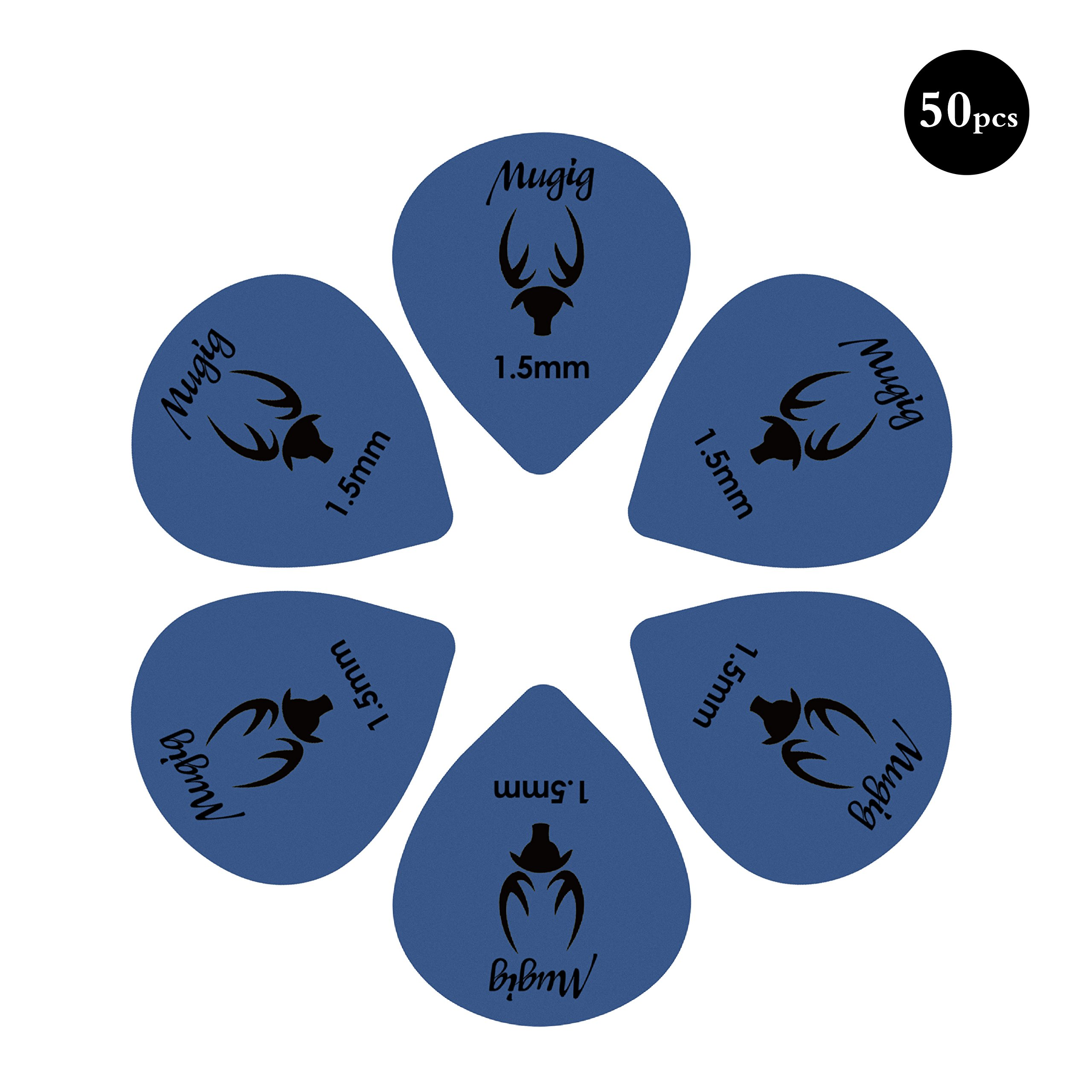 Mugig Guitar Picks, Guitar Accessories, Delrin Guitar Plectrums ,Pack of 50 (1.5MM)