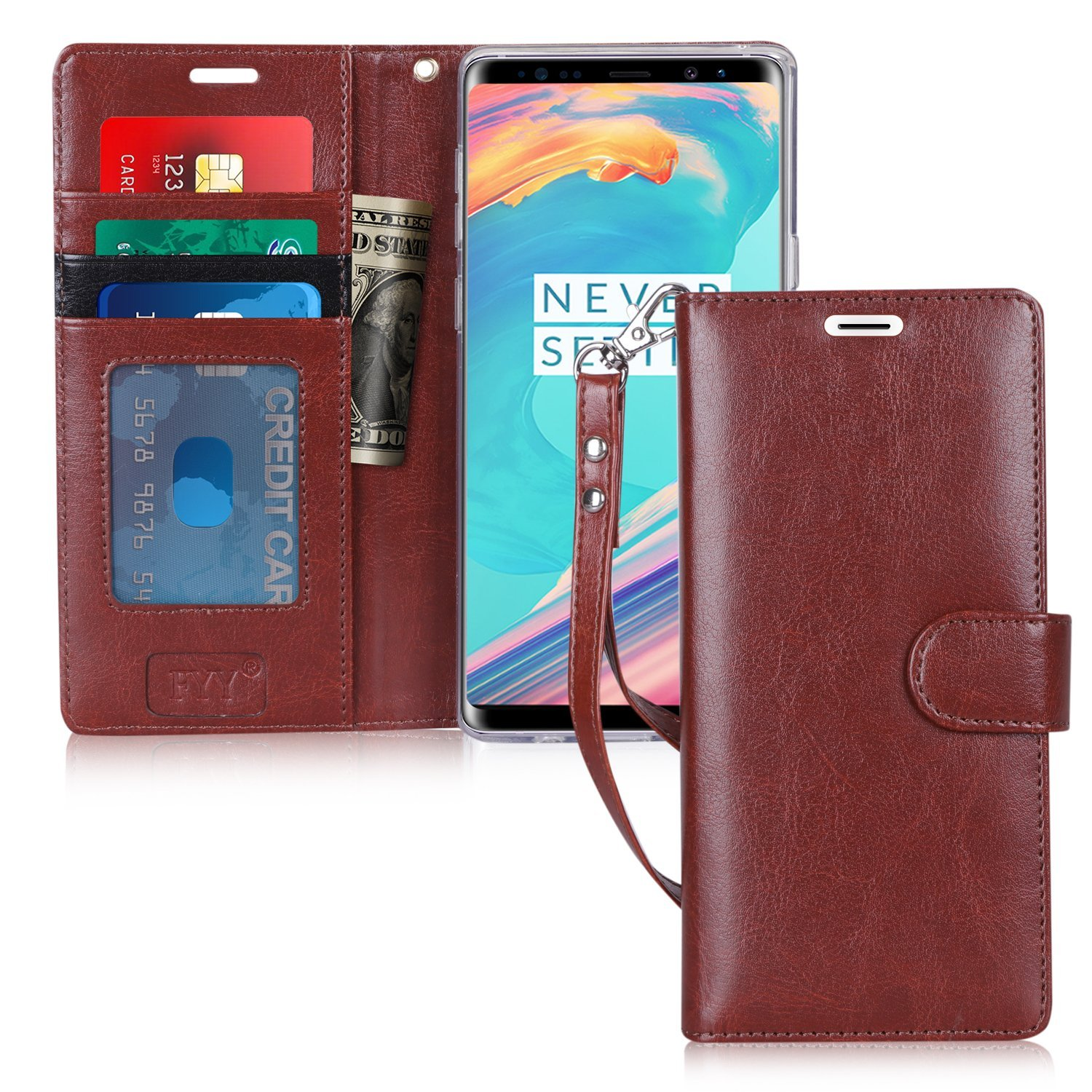 FYY Case for Samsung Galaxy Note 9, Handmade Flip Folio Note 9 Case Wallet [Kickstand Feature] With ID and Credit Card Protector for Samsung Galaxy Note 9 (2018) Dark Brown