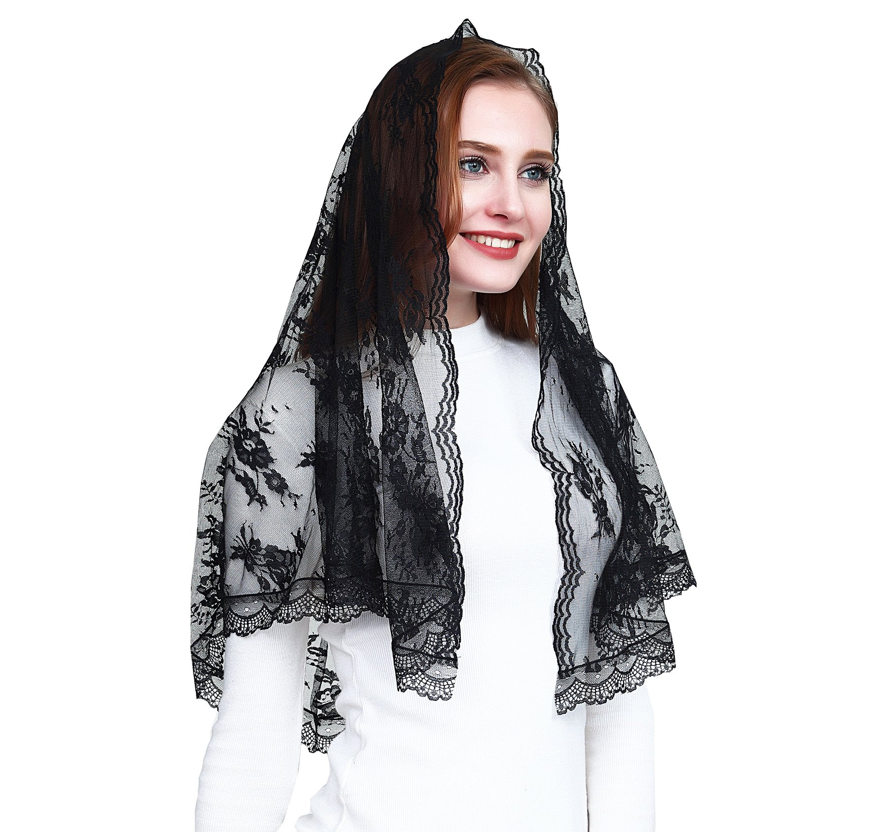 Catholic chapel veil infinity scarf mantilla floral black lace veil v42 (Veil)