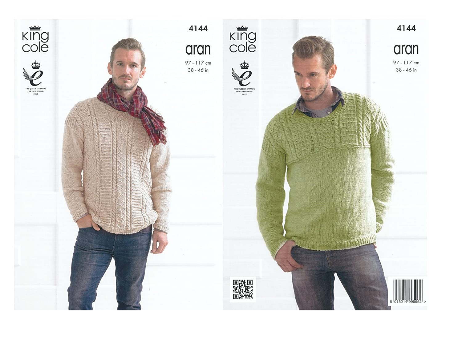 Mens Cotton Aran Knitting Pattern King Cole Long Sleeved Sweaters Jumpers 4144