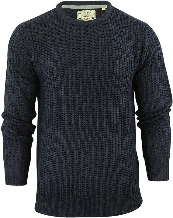 Mens Brave Soul Binary Fisherman Knit Jumper Crew Neck Medium Knitted Sweater