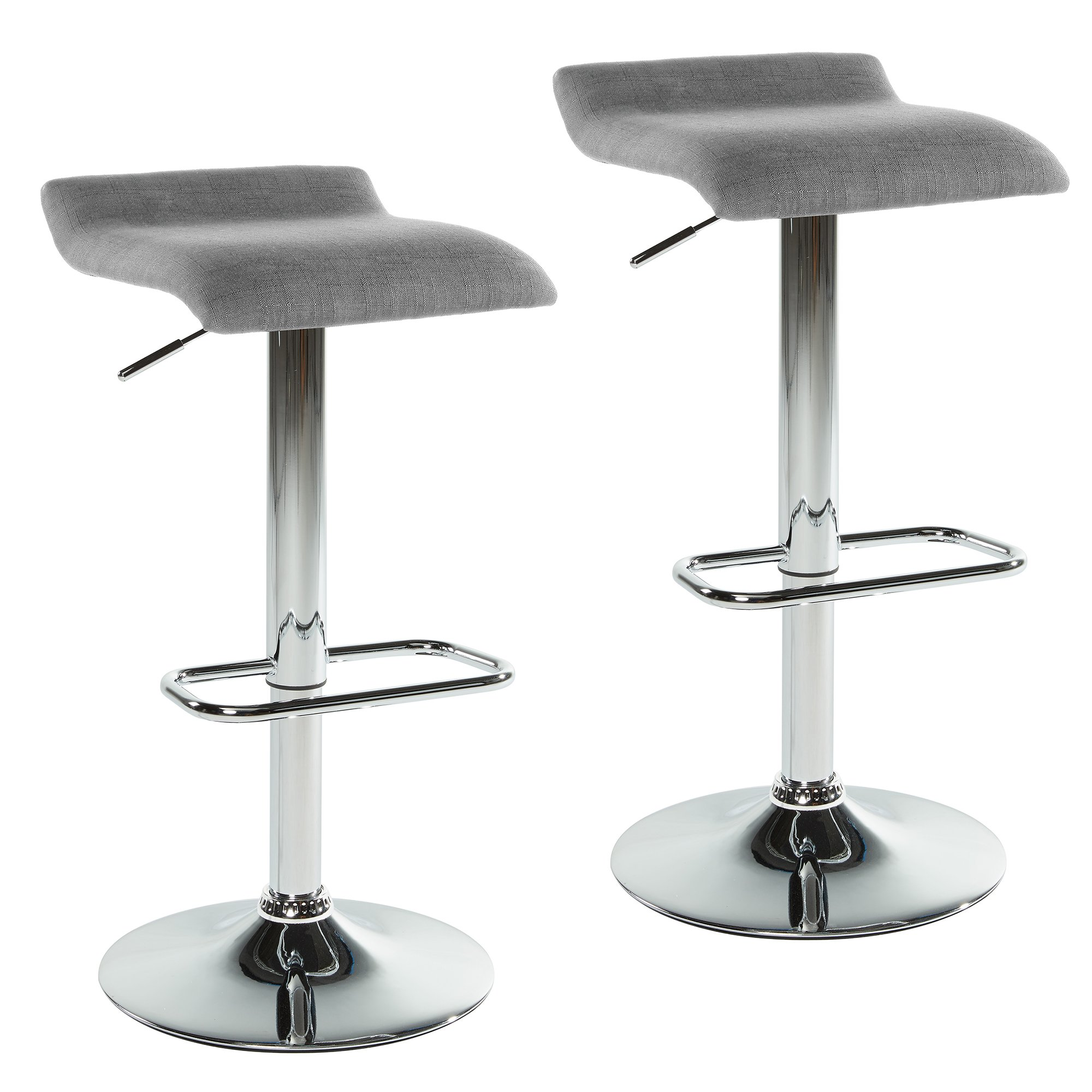 Rally Set of 2 Contemporary Fabric Upholstered and Metal Base Adjustable Swivel Stool in Grey
