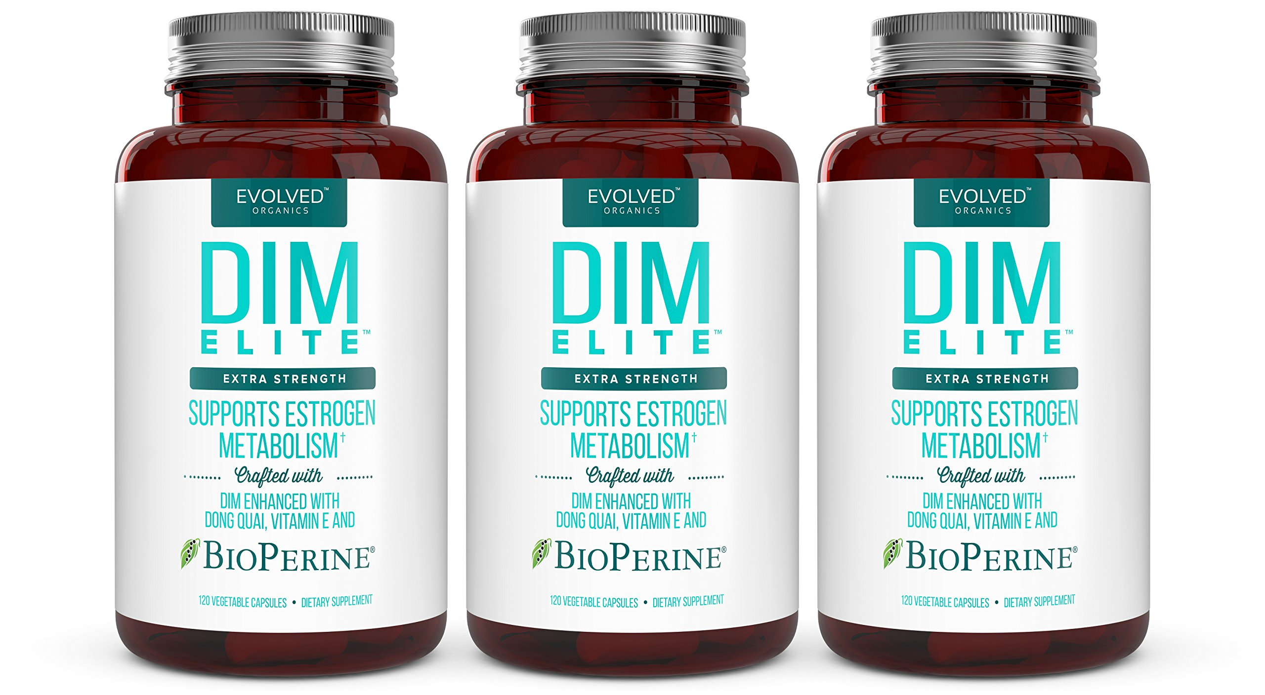 Extra Strength 250mg -plus Dong Quai, Vitamin E & BioPerine (2-4 month supply) Each Bottle -DIM Supplement for Menopause Relief, PCOS Treatment & Hormonal Acne Treatment - Aromatase Inhibitor (3 Pack)