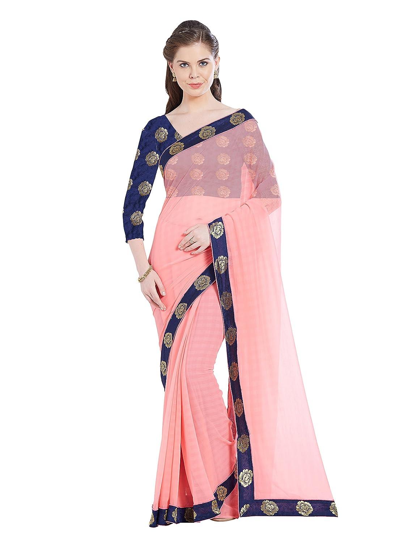 1ef4ca1f8d2d6f Viva N Diva Women s Chiffon Saree (24300  Peach  Free Size)  Amazon.in   Clothing   Accessories