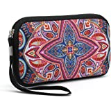 Unisex Portable Washable Travel All Smartphone Wristlets Bag Clutch Wallets, Change Purse,Pencil Bag,Cosmetic Bag Pouch Coin Purse Zipper Change Holder with Strap (Colorful Flowers)