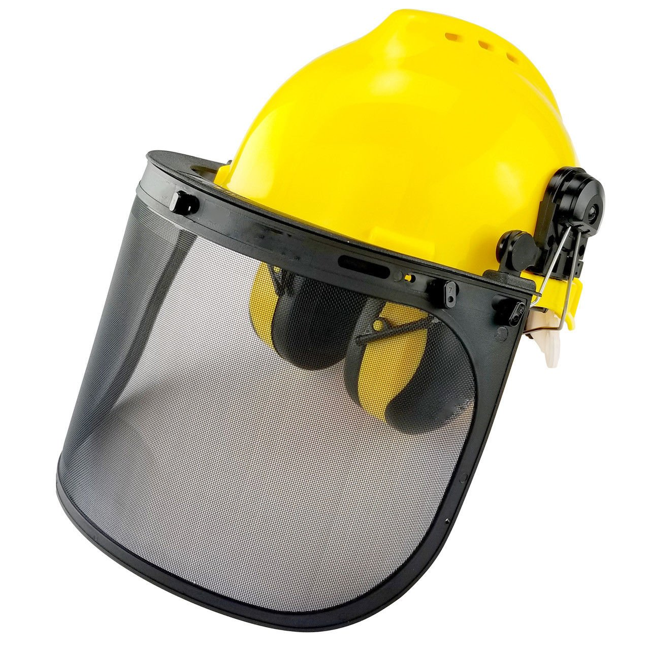 ESKALEX>>Professional Safety Helmet | 4-in-1 Construction Hard Hat Ear Face Protection and This 4-in-1 Safety Helmet Provides Complete face and Hearing Protection While Working with Chainsaws, Brush