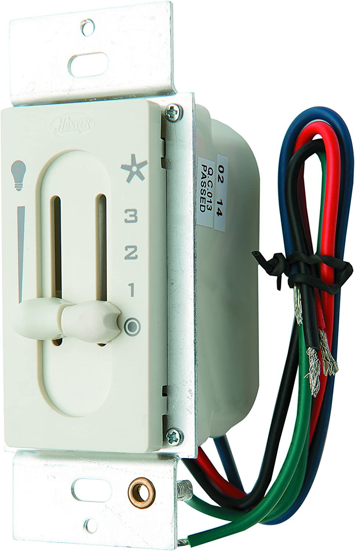 Hunter 27182 Fan/Light Dual Slide Fan/Light Control, Off White