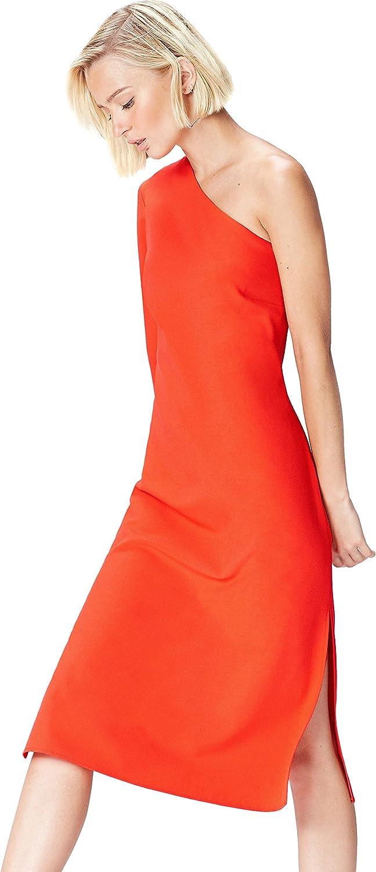 TALLA 36 (Talla del fabricante: X-Small). Marca Amazon - find. Vestido Midi con un Hombro al Aire Mujer Rosa (Blood Orange) 36 (Talla del fabricante: X-Small)