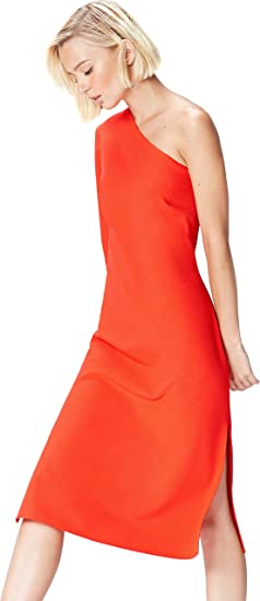 TALLA 40 (Talla del Fabricante: Medium). Marca Amazon - find. Vestido Midi con un Hombro al Aire Mujer Rosa (Blood Orange) 40 (Talla del fabricante: Medium)